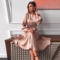 women vintage sashes satin a line dress lantern sleeve o neck solid elegant casual party dress 2021 summer ol new fashion dress