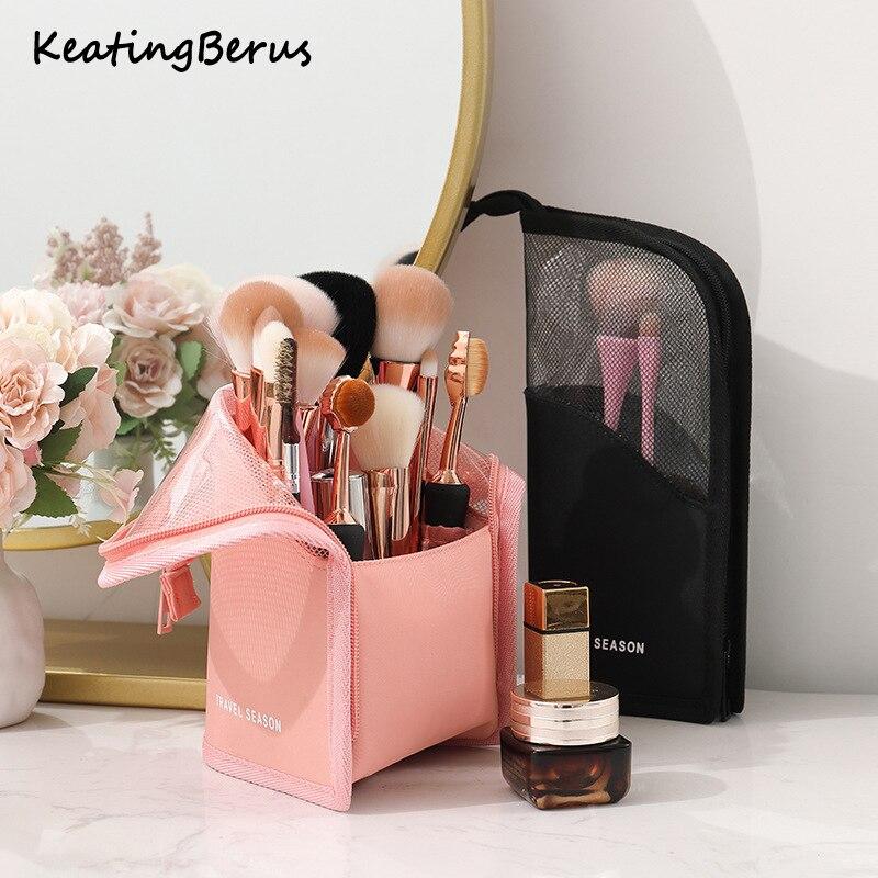 Bolsa de almacenamiento de cosméticos más vendida bolsa de almacenamiento de pincel de maquillaje bolsa de almacenamiento de tubo red máscara roja ceja de lápiz labial bolsa de almacenamiento portátil