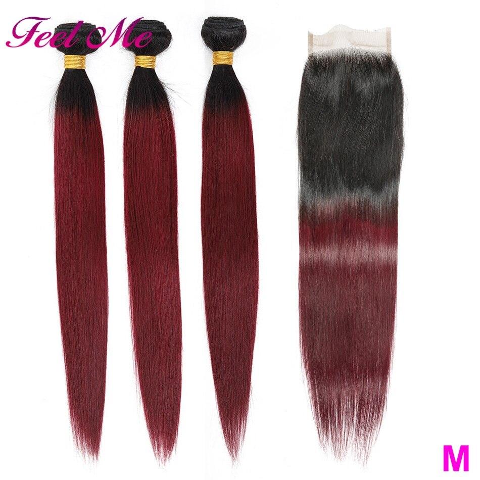3 mechones de pelo humano Ombre con cierre 1B/99J Borgoña brasileño pelo humano recto paquete profesional de color M no Remy