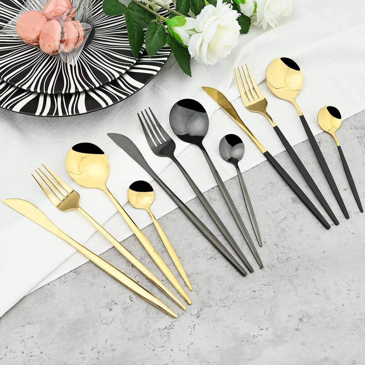 Juego de vajilla dorada de acero inoxidable, juego de cubiertos con espejo, cubiertos, cuchillo, tenedor cuchara manteles, Apto para lavavajillas, 24 Uds.