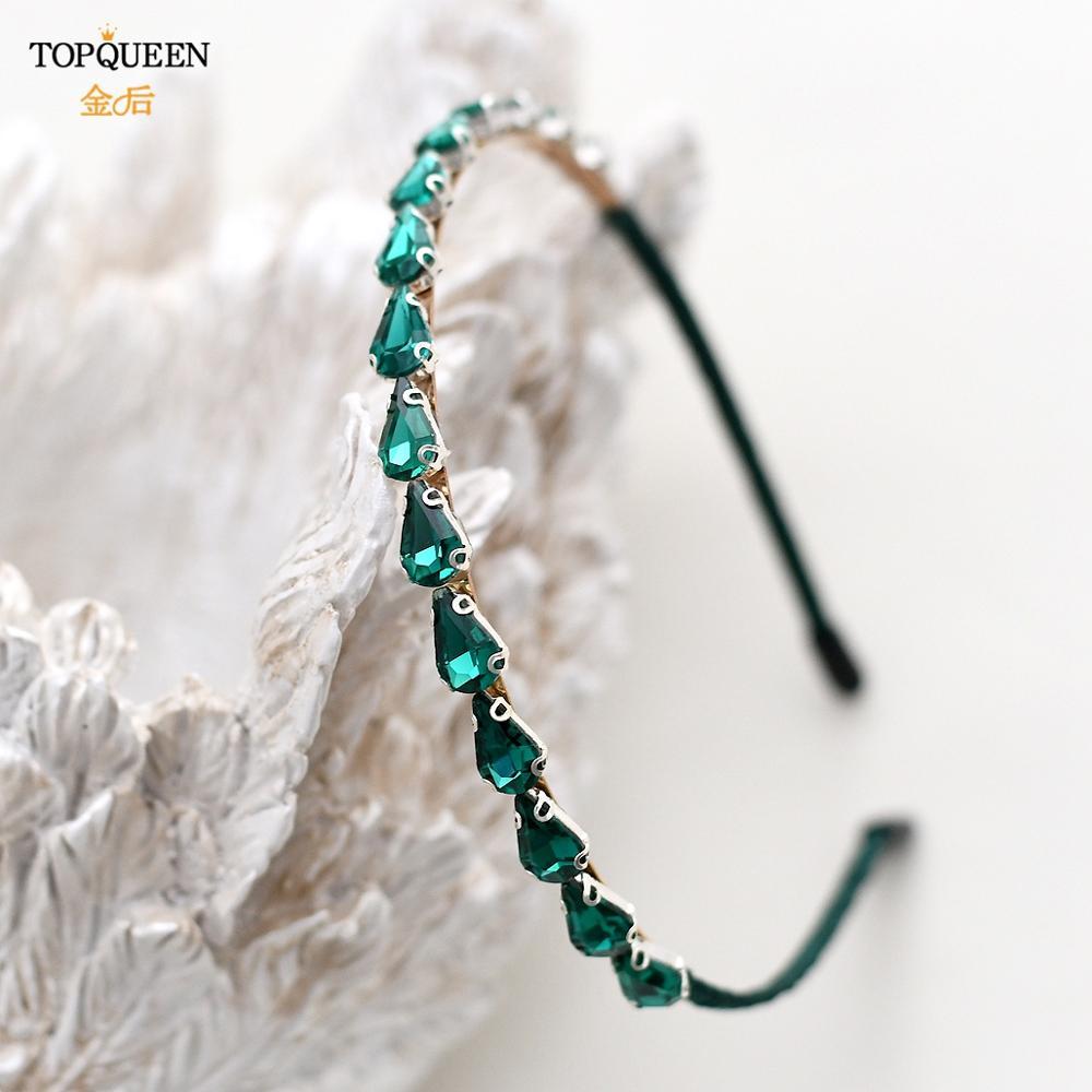 TOPQUEEN  FG05 Luxury Green Diamond Crystal Hairband Sparkly Rhinestone Baroque Headband For Fashion Women Hair Accessories недорого