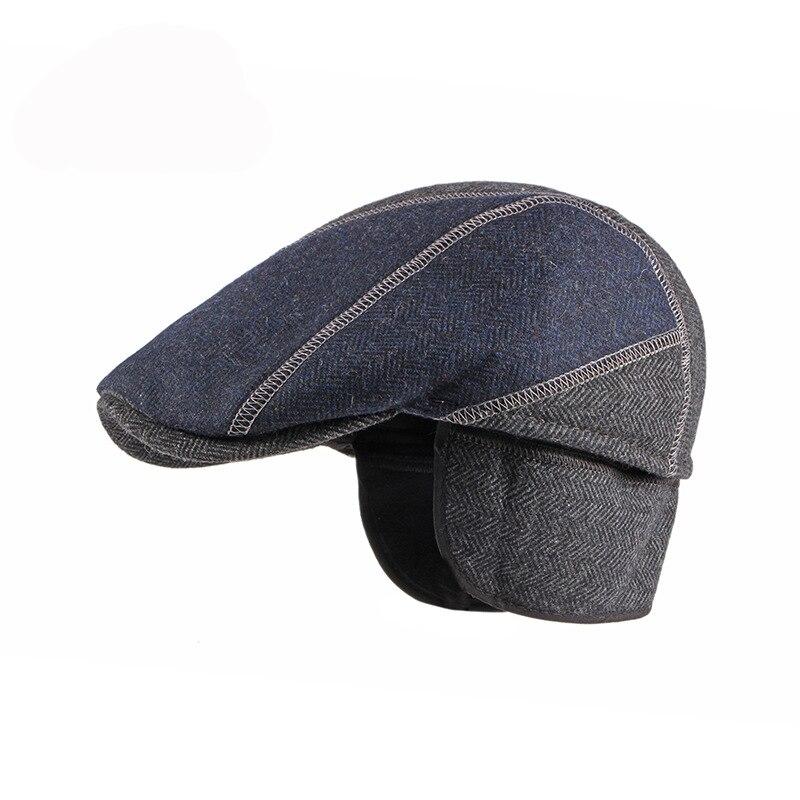 Men's British Retro Stitched Beret Cap Tweed Cotton Ear Protection Peaked Cap Autumn Winter Outdoor