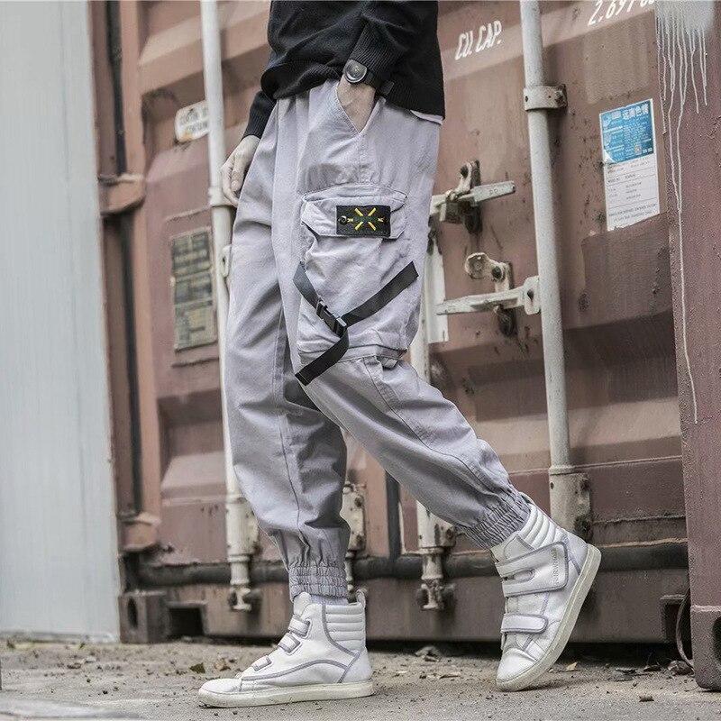 2019 hombres Multi-Bolsillo Harem Hip Pop Pantalones Streetwear Sweatpants Hombre Casual pantalones cargo de moda hombres