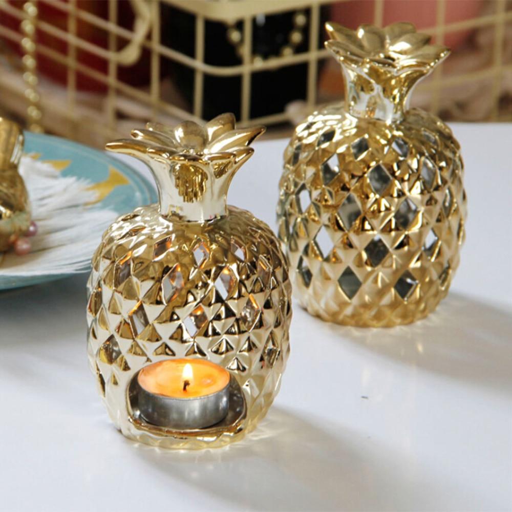 Portavelas de piña de cerámica figuritas chapado en oro piña adorno frutal Candel titular modelo decoración del hogar
