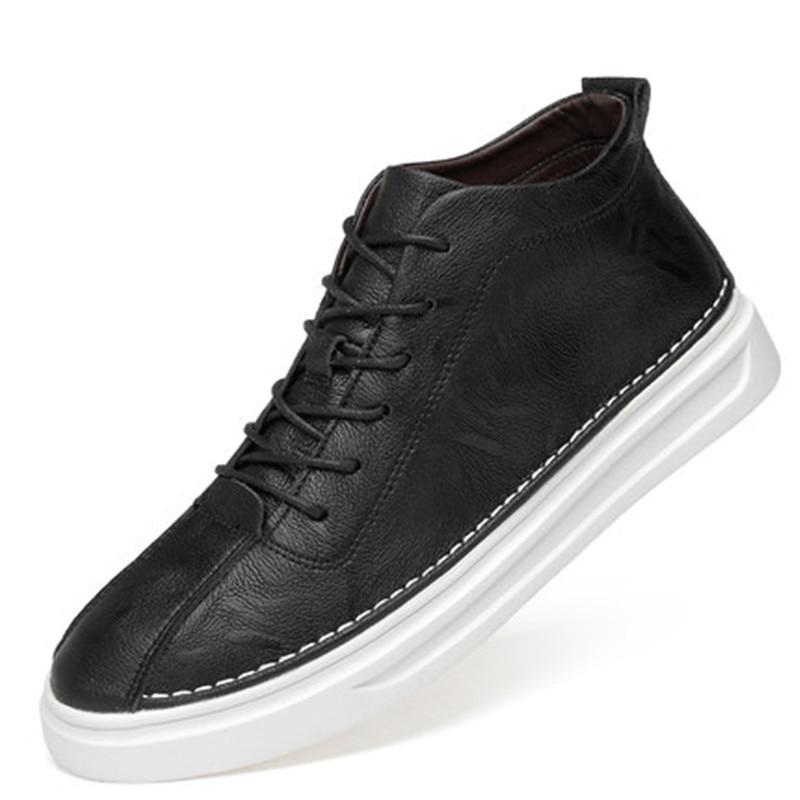 أحذية لوحية للرجال ، أحذية شتوية عصرية ، جلد سويدي أبيض صغير ، علوي ، جلد ، خريف