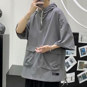 Hooded Men Clothing Symmetrical Big Pocket Mens T Shirts Preppy Style Classic Solid Color Four Seasons Travel Trip Cotton Shirt