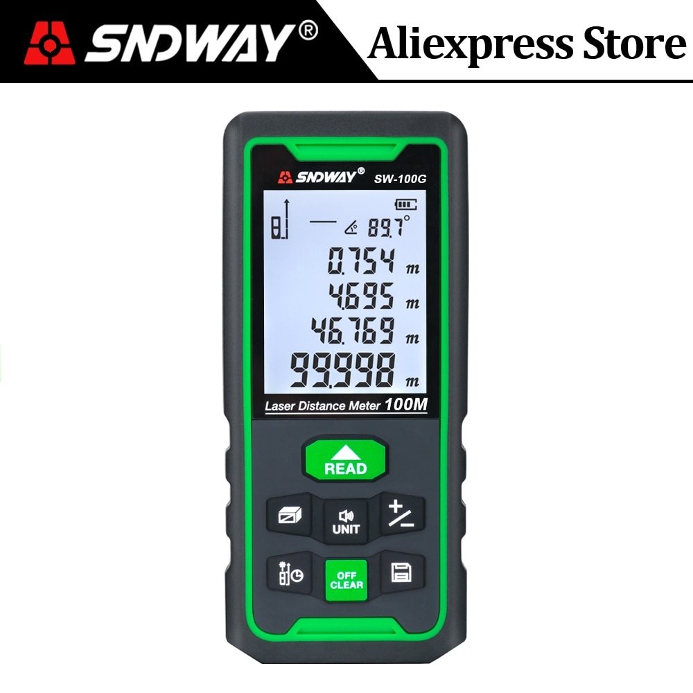 Sndway الأخضر ليزر مقياس مسافات 100 متر 70 متر 50 متر المدى مكتشف الليزر شريط القياس ترينا الرقمية الروليت الليزر حاكم Rangefinder