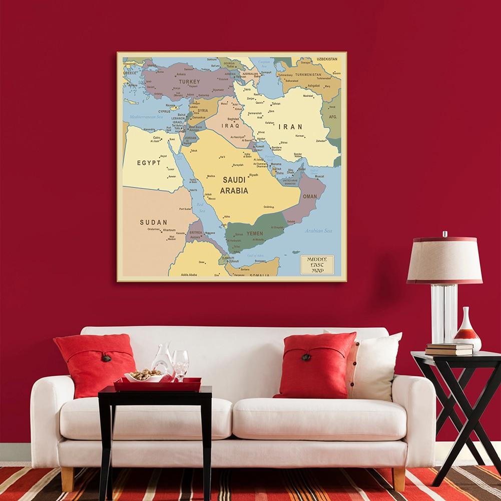 150*150 Cm The Middle East Map Political Distribution Map Non-woven Canvas Painting Wall Poster Home Decoration School Supplies