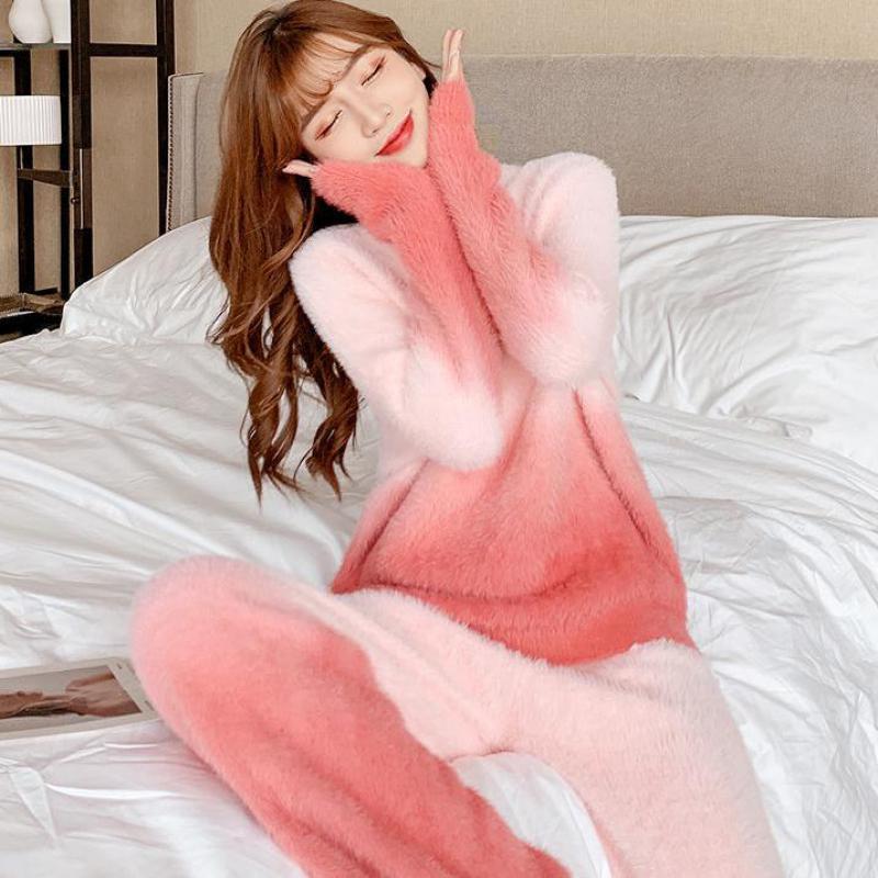 التدرج منامة النساء 2 قطعة مجموعة النوم الحلو نايتwearcoral الصوف الملابس المنزلية الخريف الشتاء ملابس خاصة س الرقبة قطعتين دعوى