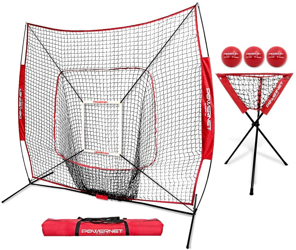 OUTFUN 7x7 Feet Children's Baseball Net Training Net With Holes Portable 2-in-1 Set Hot Sale