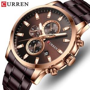 Часы наручные CURREN Мужские кварцевые, брендовые Роскошные модные водонепроницаемые спортивные стальные, с хронографом