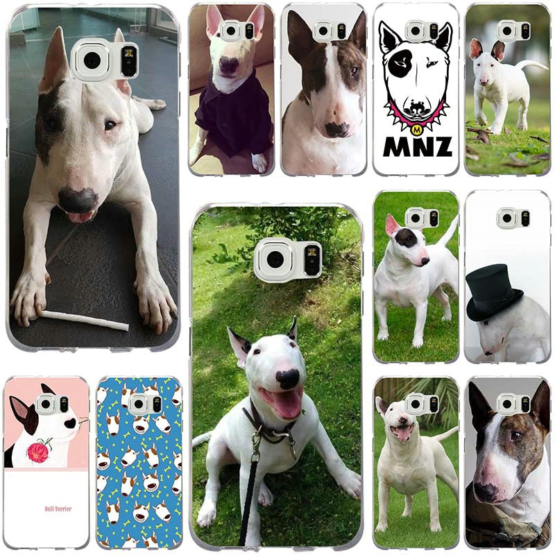 Caso suave para Samsung Galaxy nota 2 3 5 8 9 S2 S3 S5 Mini S6 S7 S8 S9 S10 Edge Plus Lite feliz Bull Terrier perro cachorros