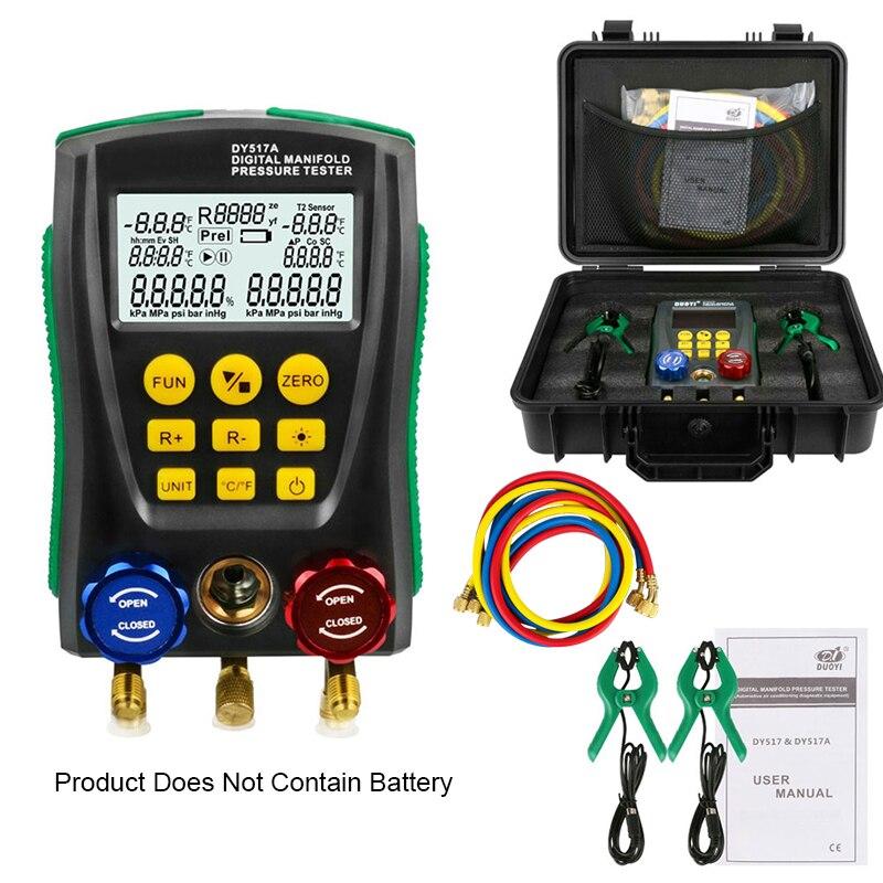 DY517A الرقمية ضغط مجموعة عدادات قياس التبريد فراغ ضغط المنوع تستر متر HVAC جهاز قياس درجة الحرارة عدة أداة اختبار