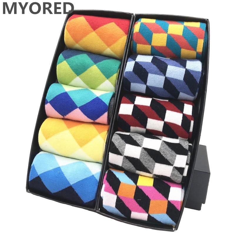MYORED mens colorful casual dress socks combed cotton striped plaid geometric lattice pattern fashion design high quality недорого