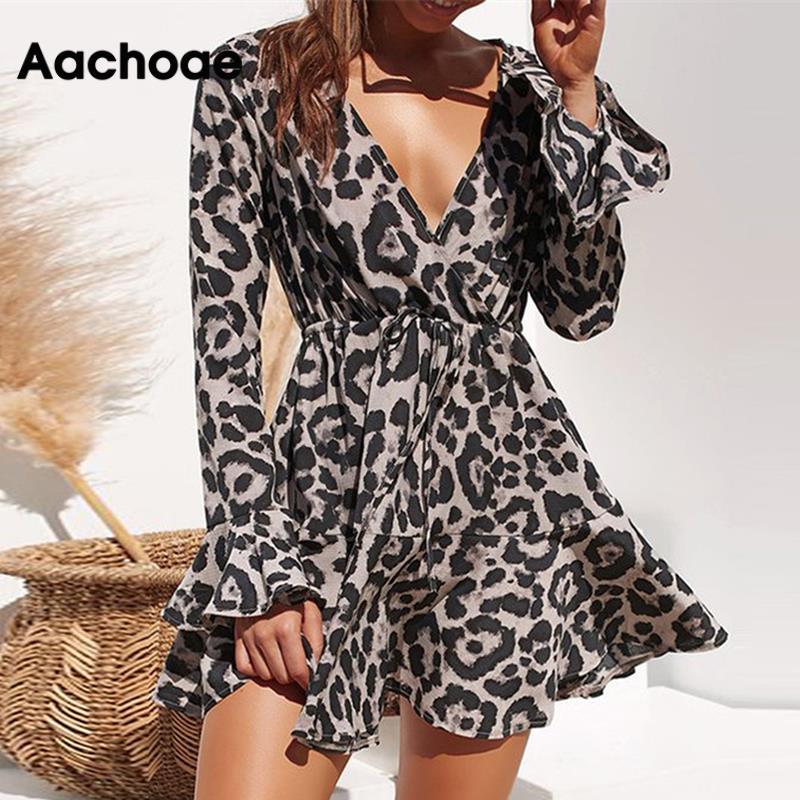 Aachoae, vestido de verano de gasa para mujer, estampado de leopardo, Boho, Vestidos de playa, Casual, con volantes, manga larga, línea A, Mini vestido de fiesta, Vestidos