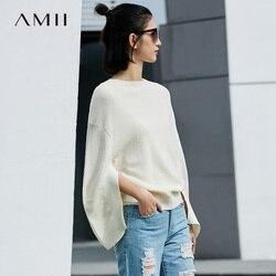Amii minimalista pulôver camisola inverno feminino sólido manga de menisco slash neck camisola de lã feminina 11777233