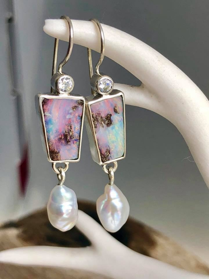 Retro Jewelry Natural Colorful Opal and Pearl Gemstone Dangle Hook Earring Wedding Engagement Earrings for Women