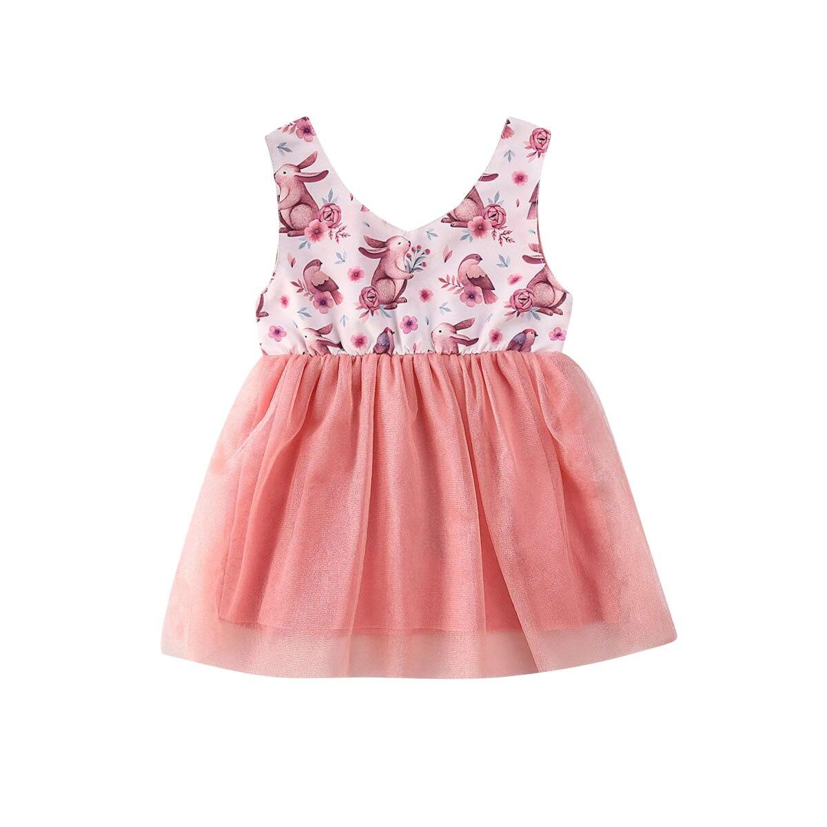 Verão crianças bebê menina princesa vestido sem mangas coelho impressão festa de renda tule tutu mini vestido outfit 6m-5y