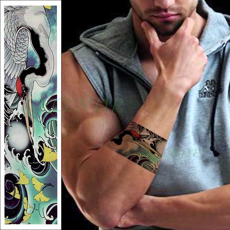 Tatuaje temporal a prueba de agua pegatina Corona Roja grúa ginkgo banda tipo hojas falso destello de tatuaje cintura brazo pie tatuaje para chica mujeres hombres