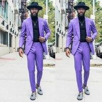 fashion purple mens suits 2 pieces slim fit one button casual tuxedos for wedding groomsmen jacket men blazerpant