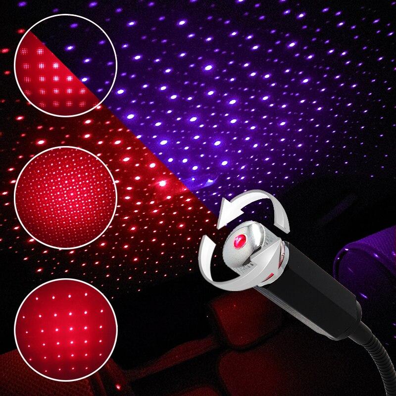 USB автомобильная крыша Звезда Ночной Светильник проектор атмосфера Галактическая декоративный подсветка салона авто звездное небо Регулируемый Effects автомобильный светильник