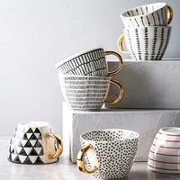 cups geometric shaped irregular tea mug creative cup ceramic gifts gold mugs home handmade handle coffee decor unique with milk