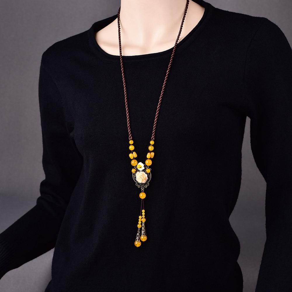 Personalidad Original destacado estilo étnico suéter cadena amarillo Retro Yusui aleación de cobre-zinc collar largo mujer Bijoux