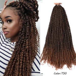 Belle Show Long Pre Twisted Passion Twist Crochet Hair 18Inch 24Roots Pre-looped Synthetic Crochet Braids Hair Spring Twist Hair