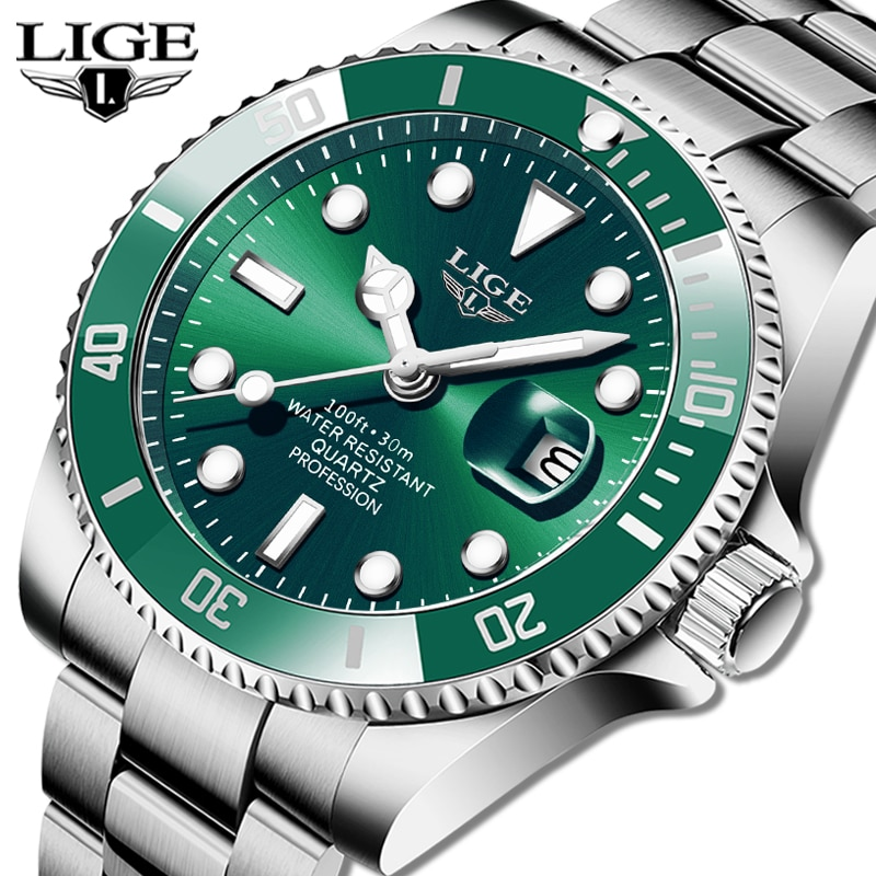 LIGE Top Brand Luxury Fashion Diver Watch Men 30ATM Waterproof Date Clock Sport Watches Mens Quartz