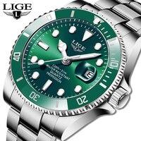 Часы наручные LIGE Мужские кварцевые, брендовые Роскошные модные водолазные спортивные, водонепроницаемость 30 АТМ, с датой