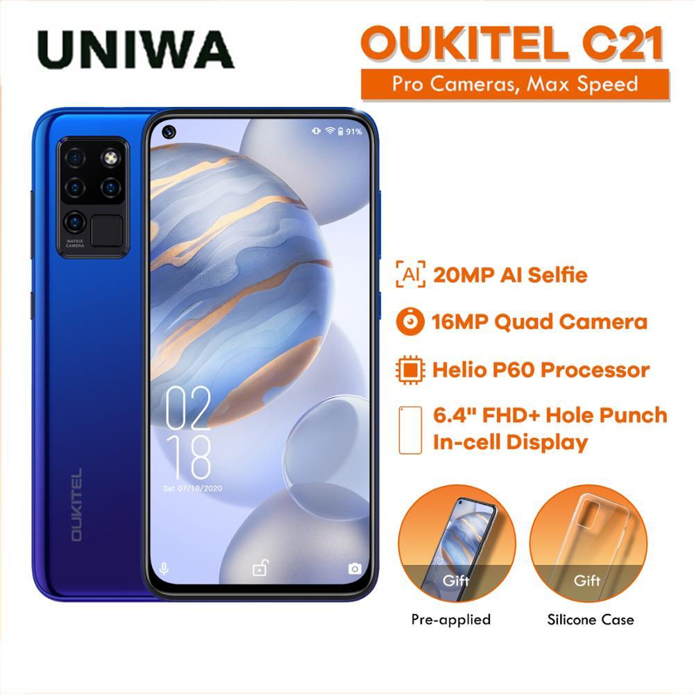 OUKITEL C21 4+64GB Phone 4G Celular Smartphone Helio P60 Quad Camera 20MP Selfie 6.4'' FHD+ Hole Punch Screen 4000mAh Octa Core