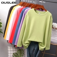 ouslee cotton long sleeve t shirt women casual basic womens t shirts solid colors top female fashion korean tee shirt plus size