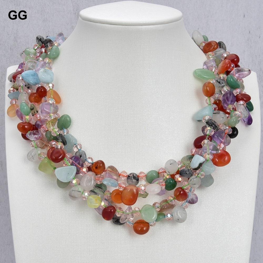 GG Jewelry-عقد عقيق يشب كريستال ، 5 خيوط من الأحجار الكريمة ، مزيج الألوان