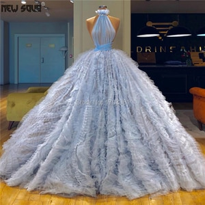 Blue Halter Formal Evening Dresses Robe De Soiree Puffy Ball Gowns Prom Dress For Dubai Arabic 2019 Couture Islamic Party Gowns