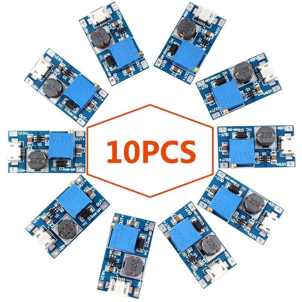 10PCS Step up Converter DC MT3608 Voltage Regulator Module Board DC 2A Supply Module Boost Converter Power Module Booster