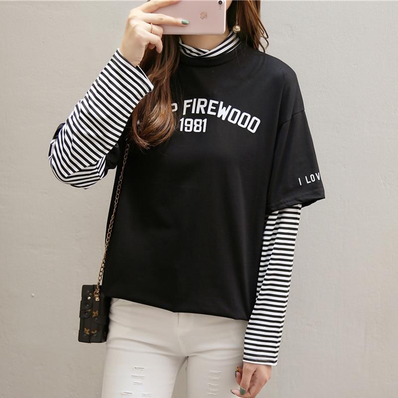 korean Casual Loose Fake two pieces t shirt Long sleeve Striped Patchwork Women Tops Autumn turtleneck T-Shirts harajuku tshirt