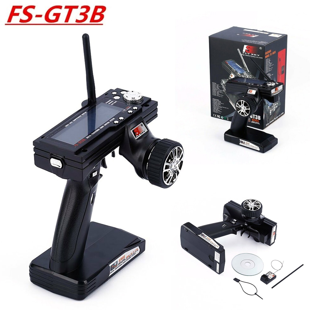 Flysky FS-GT3B 2.4G 3CH GT3B Transmitter 3 Channel 2.4G Transmitter & Receiver GR3E Receiver for RC Car, Rc Boat and Rc Truck