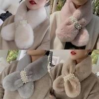 fashion temperament girl accessories long skinny scarf women soft winter fashion thick warm pearl faux fur neck scarf