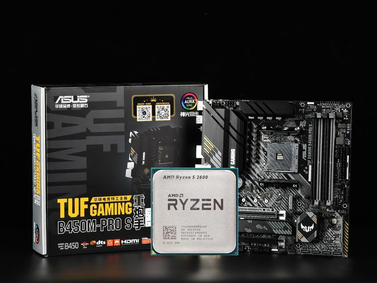 ASUS TUF الألعاب B450M-PRO S اللوحة مجموعة كومبو مجموعة Ryzen 5 2600 AM4 وحدة المعالجة المركزية DDR4 B450