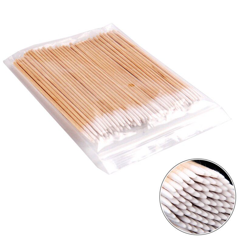 300pc Disposable Cotton Swab Lint Free Micro Brushes Wood Cotton Buds Swabs Ear Clean Stick Eyelash Extension Glue Removing Tool
