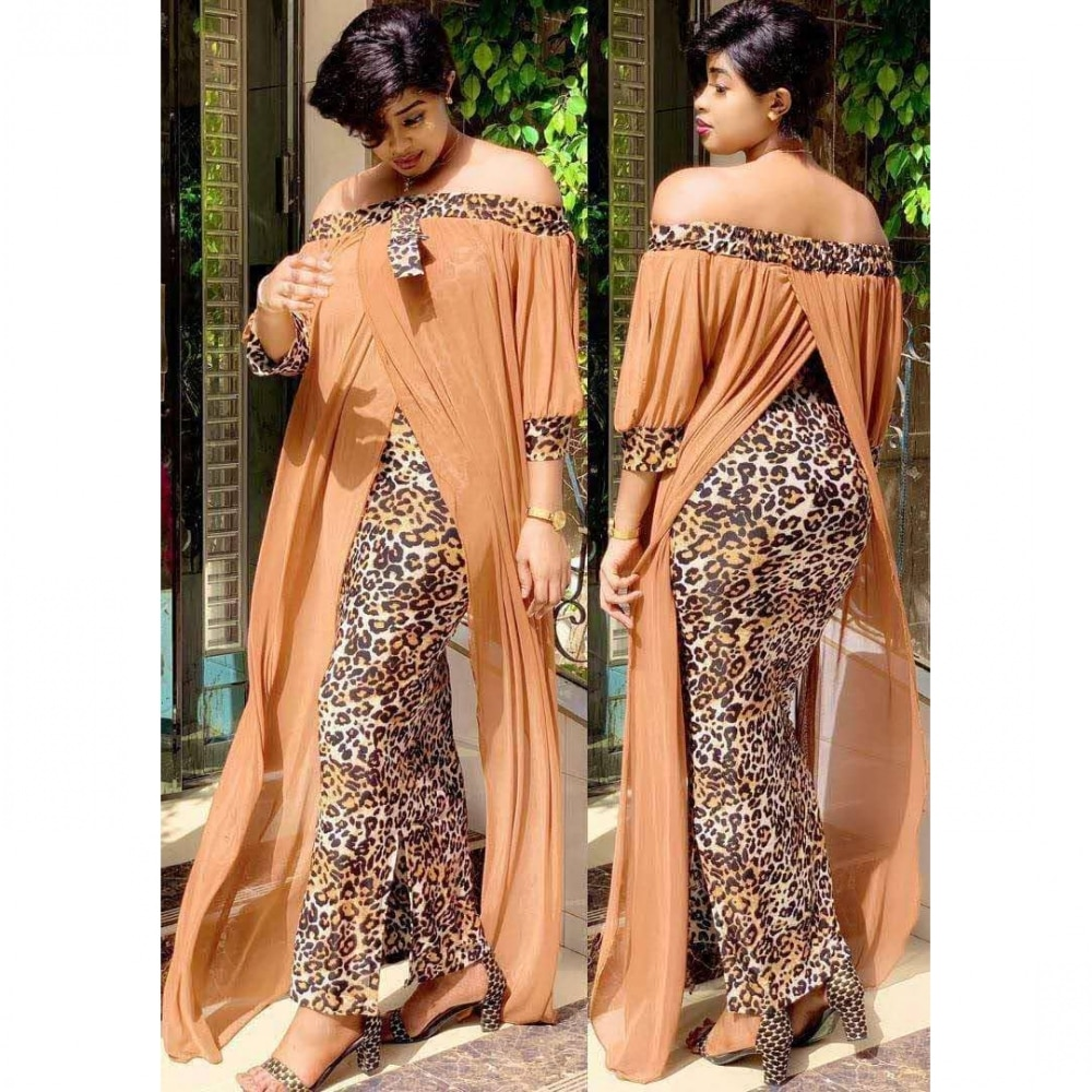 African Long Maxi Dress Women's Leopard Slash Neck Off The Shoulder Backless Daily Evening Party Dress African Dresses For Women