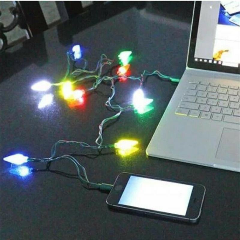 Feliz Navidad luz LED Cable USB cargador iluminación Cable adecuado para IOS...