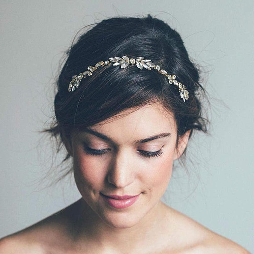Moda prata cor com fio de cristal strass casamento cabelo pente corrente acessórios para o cabelo hairband nupcial bandana