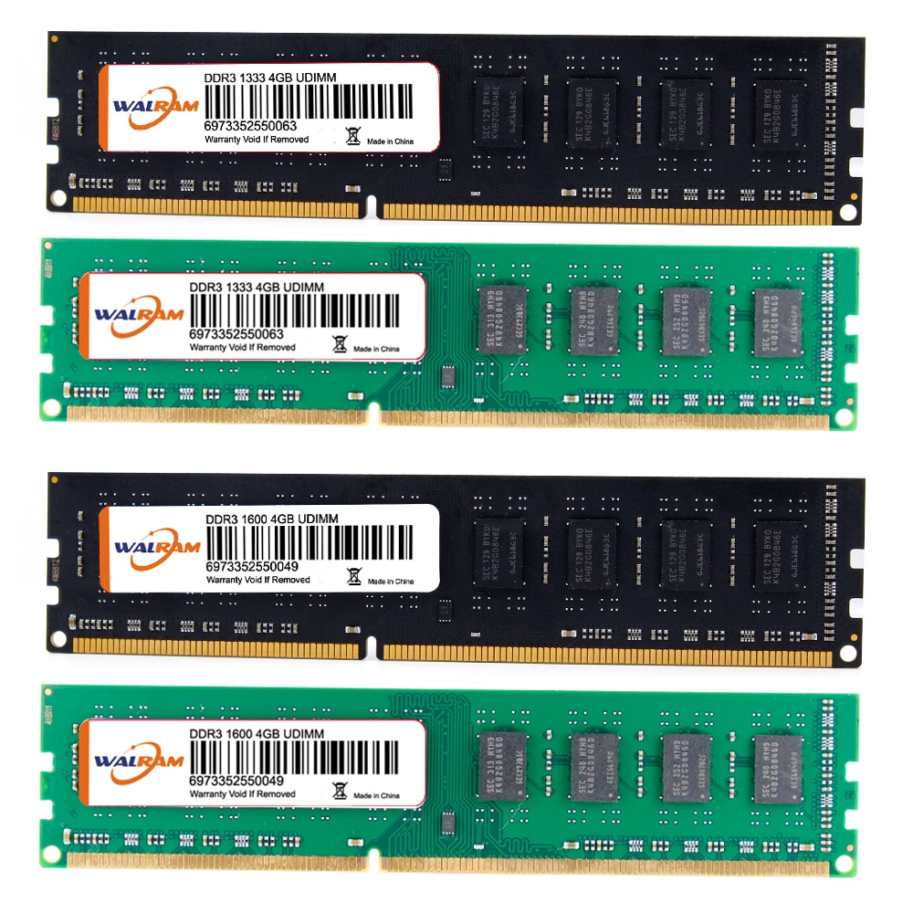WALRAM DDR3 Memory 240Pin 4G هادئ عالي السرعة يقرأ كتابة 1333/1600MHZ 1.5V RAM ل AMD/INTEL حاسوب ذاكرة عشوائيّة للحاسوب المكتبي