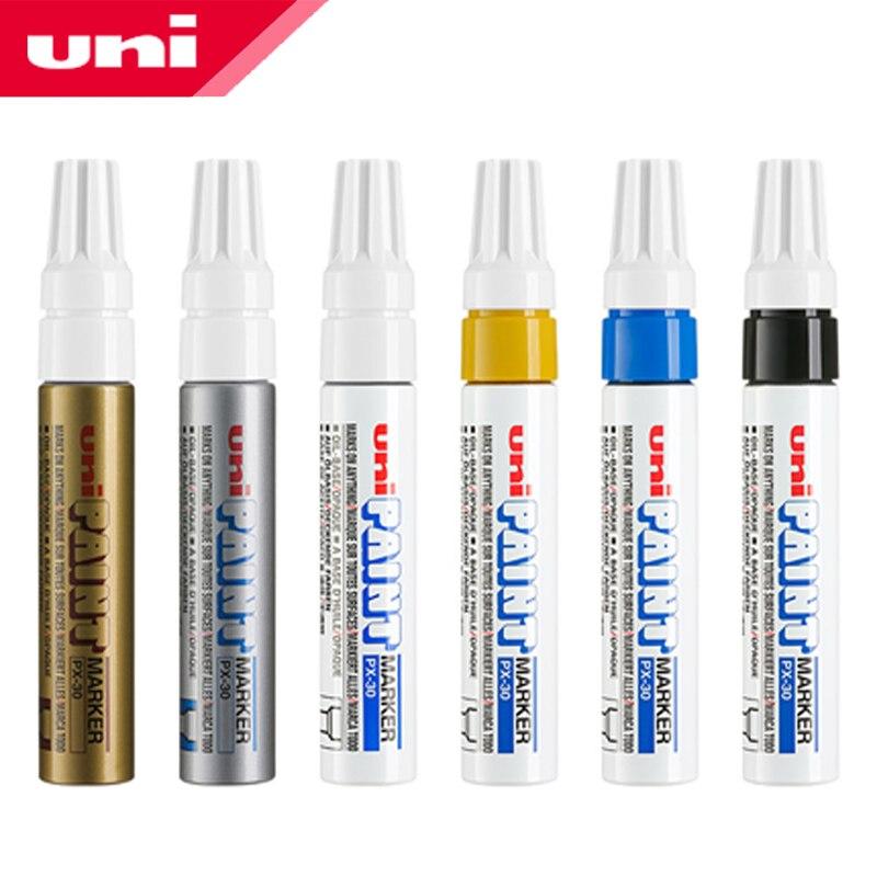 6pcs-giappone-uni-px-30-penna-vernice-di-spessore-parola-ampio-touch-up-penna-note-industriale-obliquo-penna-di-testa-di-spessore-grassa-pennarello-indelebile