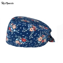 unisex Breathable Summer essential Floral printing work Dust-proof cleaning Scrub cap Pet store beau