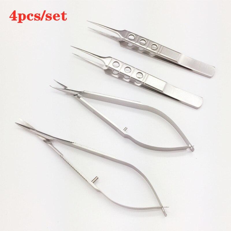 12,5 см ножницы из нержавеющей стали + держатели для игл + Пинцет офтальмологические микрохирургические инструменты хирургические инструмен...