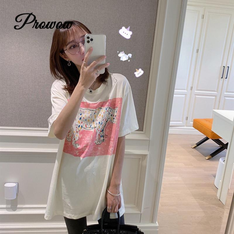 Diseño de marca moda de verano mujeres sueltas Top Tide Animal dibujo grafiti manga corta suelta pinta camiseta 2020 ropa de lujo