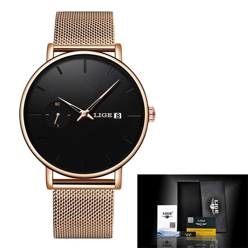 LIGE Women Watches Top Brand Luxury Ladies Mesh Belt Ultra-thin Watch Stainless Steel Waterproof Clock Quartz Watch Reloj Mujer enlarge
