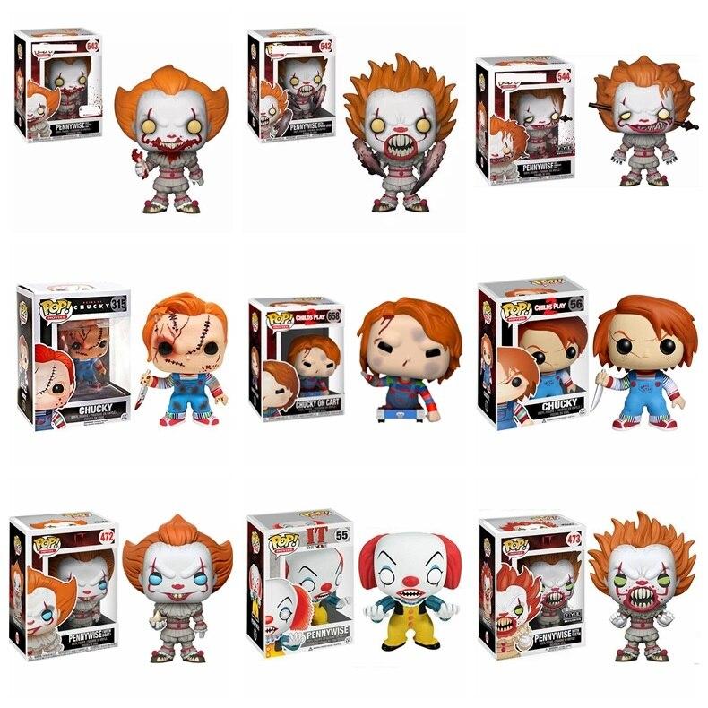 Figura de acción pop IT- Pennywise y CHUCKY, juguete de payaso, modelo de Anime, juguetes de coleccionismo de Pvc para niños, regalos de cumpleaños y Navidad